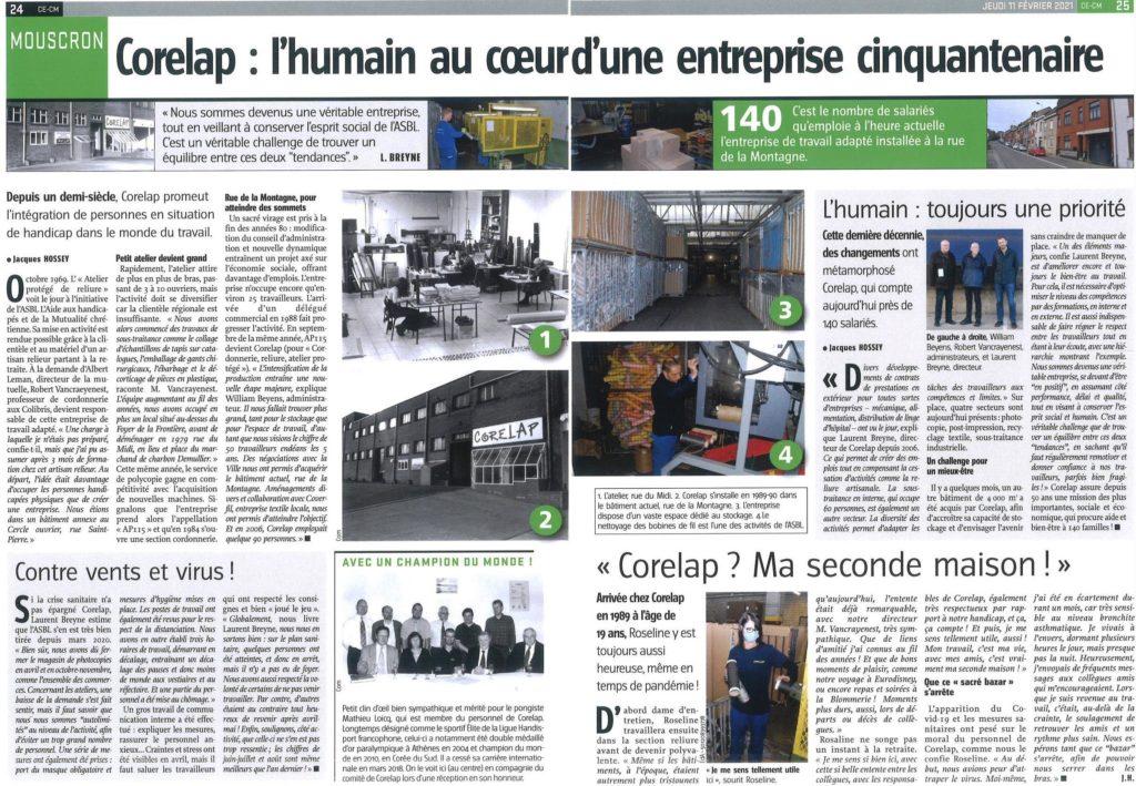 Corelap dans la presse (Journal l'Avenir du 11 février 2021)